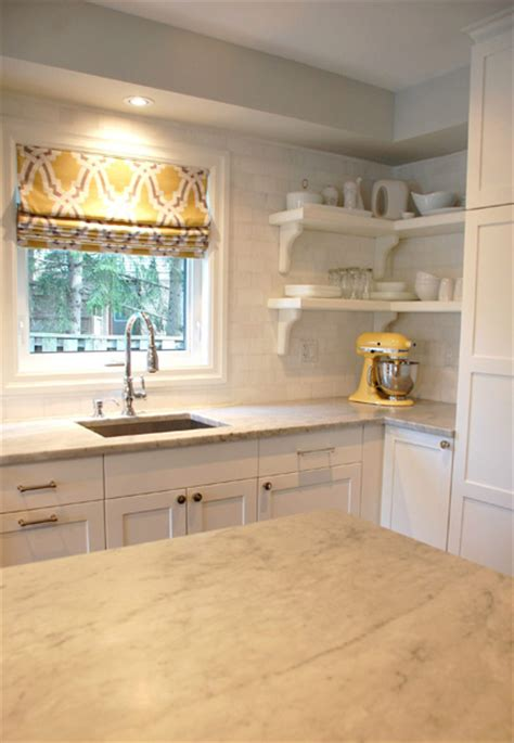 yellow cabinets gray walls kitchen roman shade transitional kitchen studio mcgee