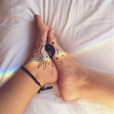 sun and moon foot tattoo creative whimsical girly sun moon yin