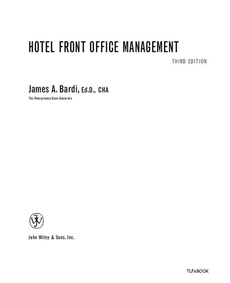 hotel front desk system hotel front office management 3rd edition complete pdf