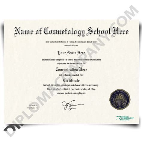 Fake Cosmetology Certificate Diplomacompany Com Cosmetology Certificate Template