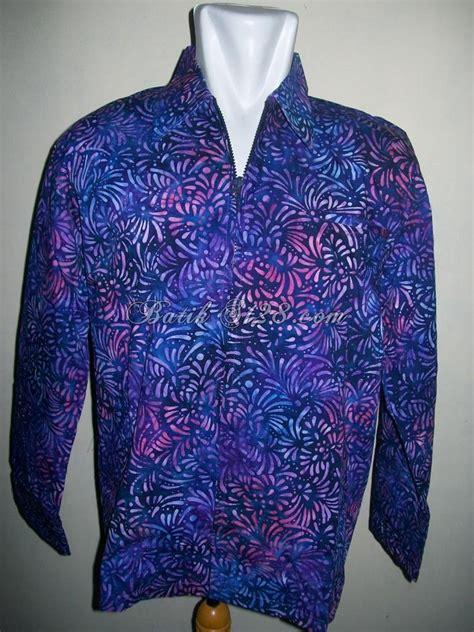 Kemeja Kerah Shanghai Kereta Api Biru jaket batik motif modern bisa dipakai wanita dan