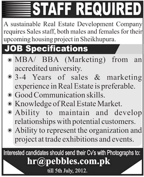 Mba Marketing In Real Estate by Sales Staff Required At Real Estate Development Company In