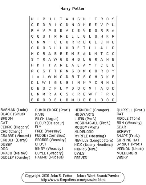 printable word search harry potter john s word search puzzles harry potter