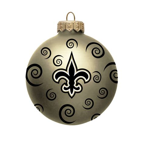 nfl new orleans saints ball ornament with swirls