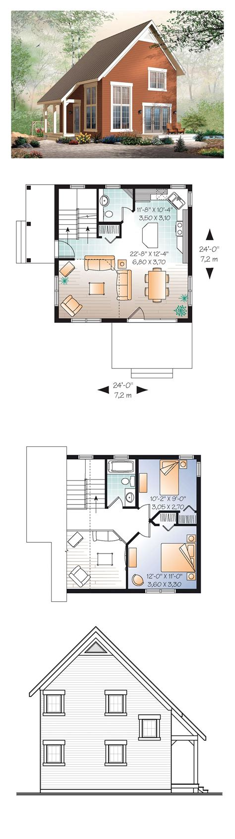 narrow kitchen floor plans cabin traditional house plan 76149