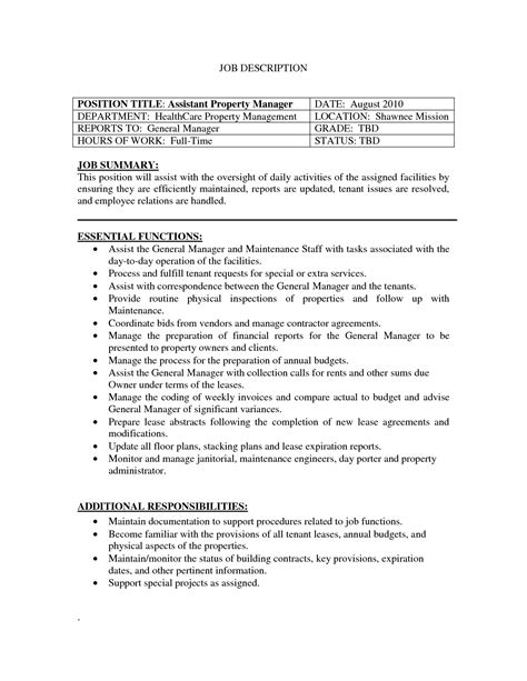 property manager resume exle assistant property manager resume template resume builder