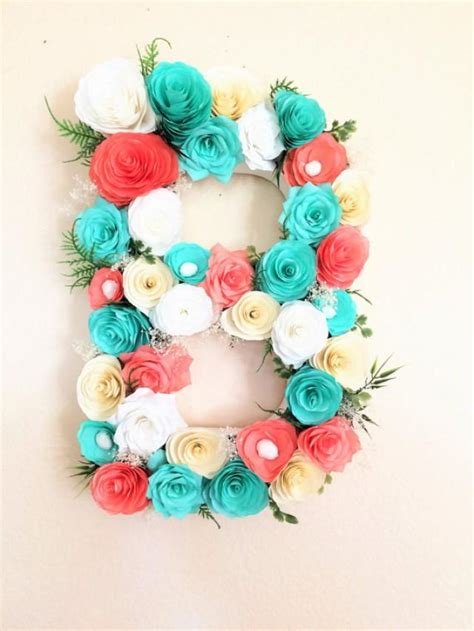paper decorations for bedrooms floral letter large paper mache letter blue and coral paper flower letter baby