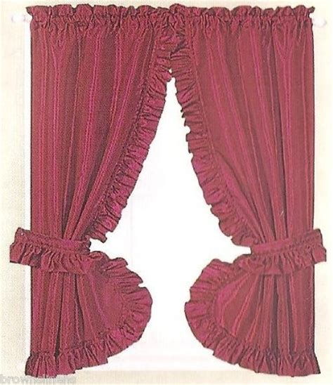 ruffled priscilla window curtains burgundy ruffled priscilla fabric window curtain ruffled