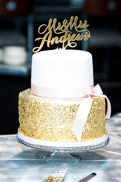 inc wedding sparkly gold and white wedding cake cakes by cathy inc