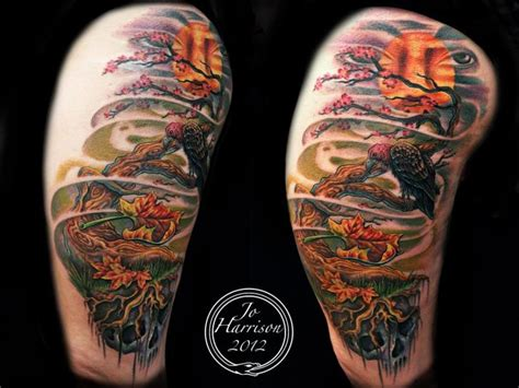 shoulder realistic leaf tree vulture tattoo by jo harrison