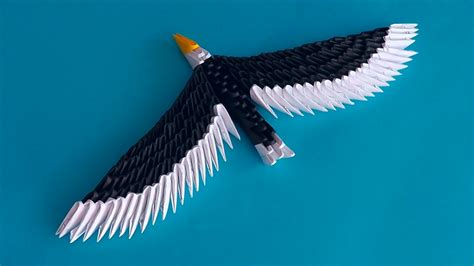 Origami Eagle - 3d origami eagle hawk assembly diagram tutorial