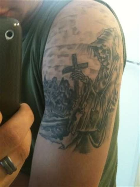 angel holding cross tattoo graveyard images designs
