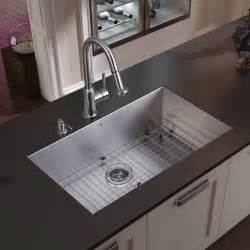 Sinks Undermount Kitchen Vigo Undermount Stainless Steel Kitchen Sink Faucet Grid Strainer And Dispens Modern Kitchen