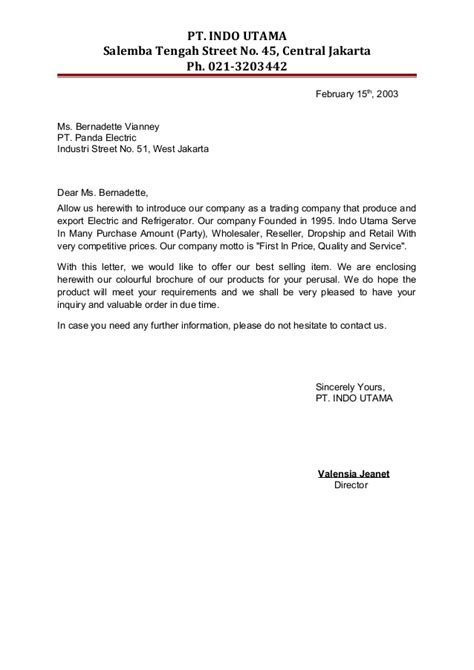Retail Company Introduction Letter Meeting 2 Introduction Letters 22120579