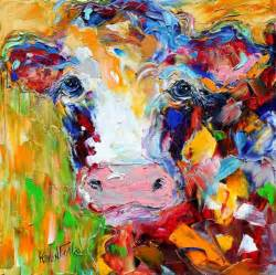 colorful cow painting original colorful cow palette knife painting impasto