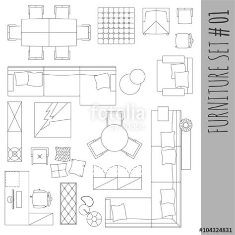 Floor Plan Iron Pateo Furniture Icons Seen From Above
