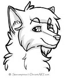 wolf lineart by ms paint friendly on deviantart