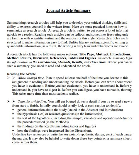 template article article summary template 7 documents in pdf