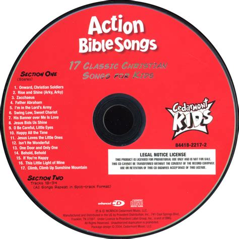 dvd format video songs cedarmont kids action bible songs cd album at discogs