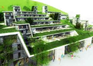 Sustainable Apartment Design by Green Roofed Hillside Homes Blend Into Their Environs