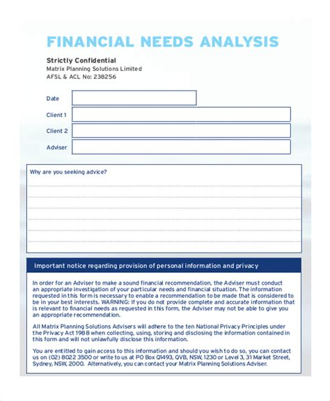 financial needs analysis template free financial needs analysis financial needs analysis