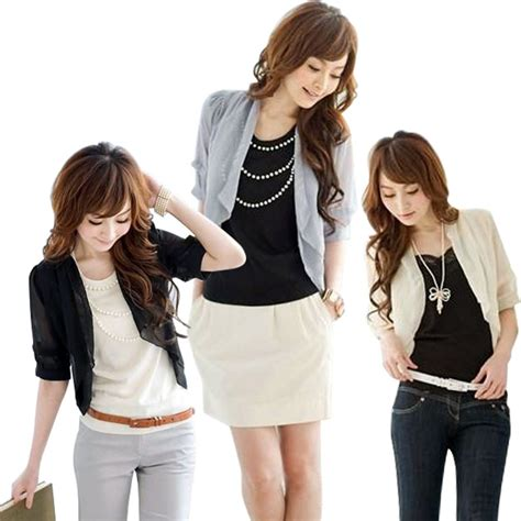Blouse Bolero 2 In 1 4 new summer womens bolero fashion 3 4 chiffon
