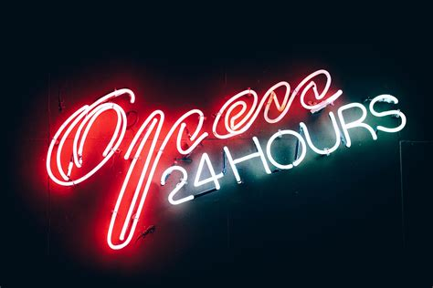 Lights Hours by Open 24 Hours Neon Sign Free Stock Photo Negativespace