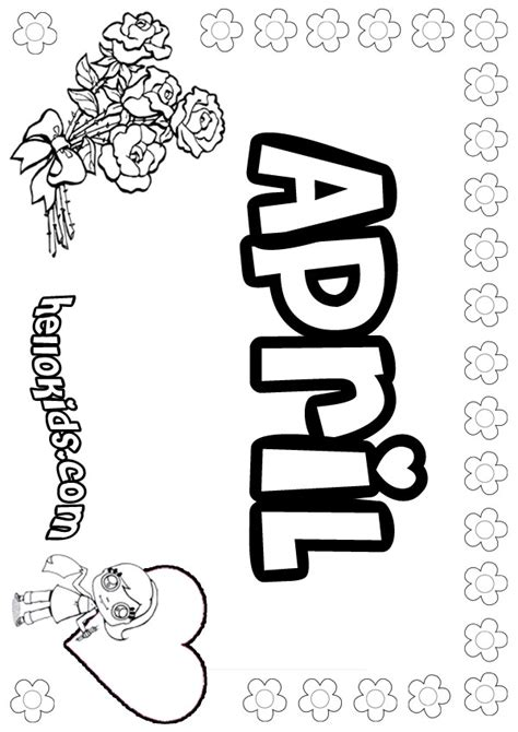April Coloring Pages Hellokids Com April Coloring Pages
