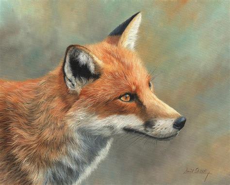 Owl Print Duvet Cover Red Fox Portrait Painting By David Stribbling