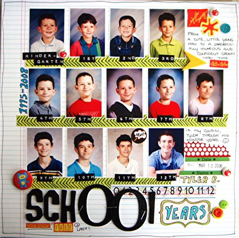 Scrapbook Layout For School Picture | layout school years