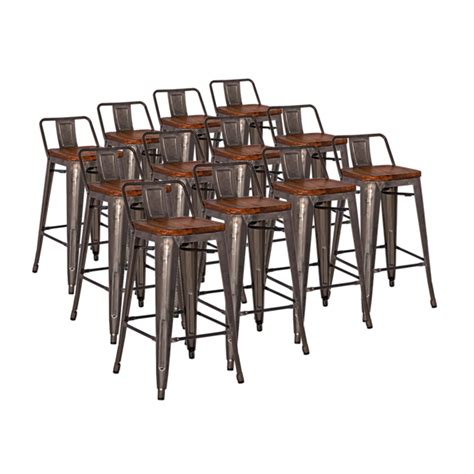 Gunmetal Counter Stools With Back by Metro Modern Low Back Gun Metal Counter Stool Eurway