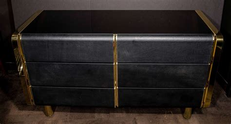 Modern Black Chest Of Drawers by Modern Streamline Chest Of Drawers In Brass And Black Leather Designed By Ello At 1stdibs