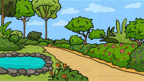 clipart garden a country garden with pond background clipart by vector