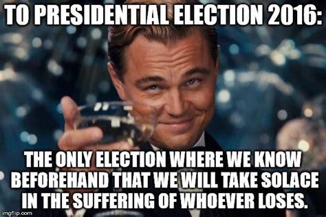 2016 us election memes leonardo dicaprio cheers meme imgflip