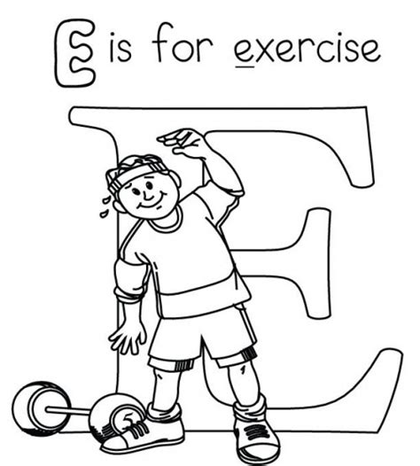 96 Exercise Coloring Pages For Preschoolers Sheets | letter e is for exercise coloring page src 2014