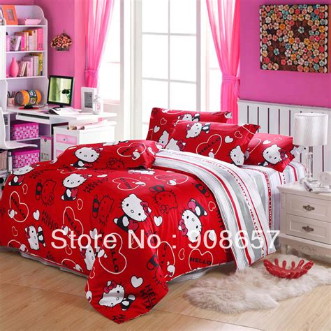 hello kitty full size comforter set red hello kitty pattern printed children s bedding set