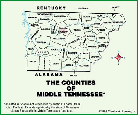 middle tn map tngenweb tennessee s 3 grand divisions