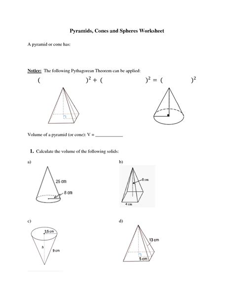 printable math worksheets volume cone 14 best images of prisms and pyramids describe worksheets
