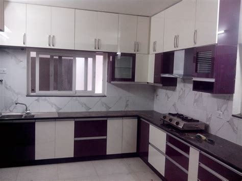 Amazing L Shaped Kitchen Layout With White And Purple Living Room Designs And Colors