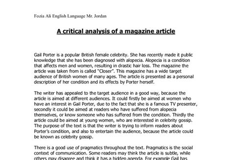 Article Analysis Essay Exle by Exle Of Article Analysis