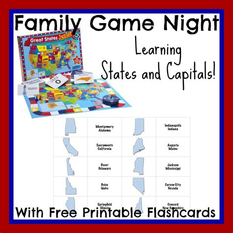printable flash cards united states learning states and capitals with family game night 3