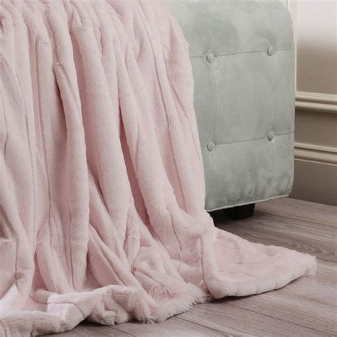 luxe mink faux fur throw blanket color light pink size