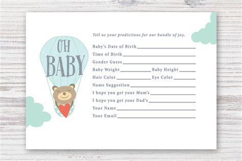 baby shower prediction cards template printable baby prediction card card templates on