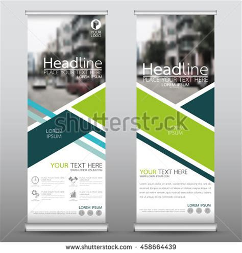design banner publisher green roll business banner design vertical stock vector