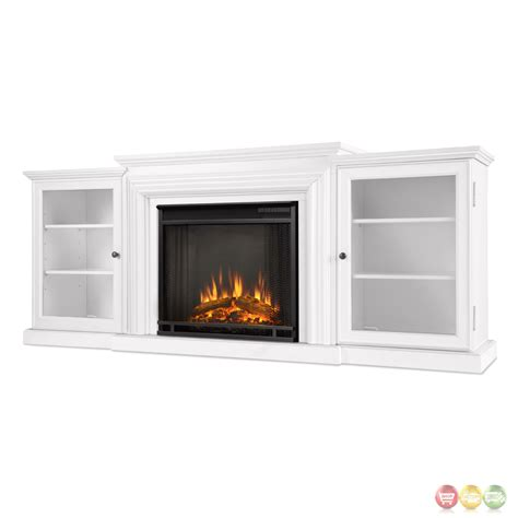 frederick entertainment center electric fireplace in white