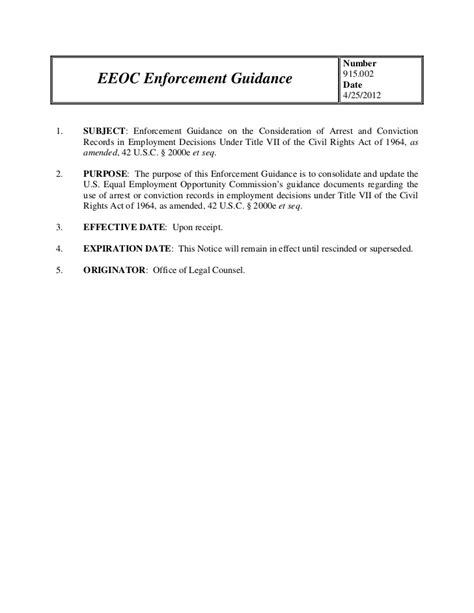 Eeoc Arrest And Conviction Records Eeoc Enforcement Guidance On The Consideration Of Arrest And Convicti