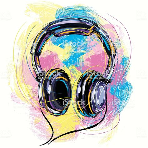colorful headphones stock vector more images of