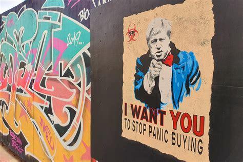 mural  boris johnson urging people  stop panic buying