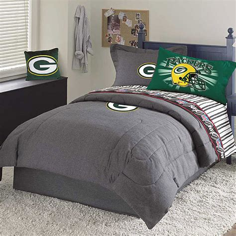 green bay packers nfl team denim full comforter sheet set
