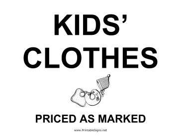 printable kids clothes yard sale sign